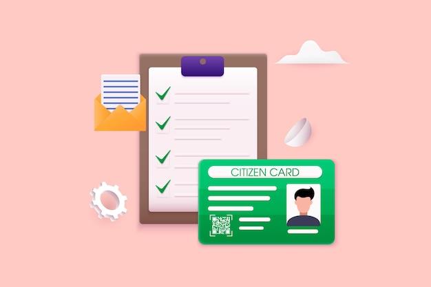 Conceito de green card de cartão de residência permanente