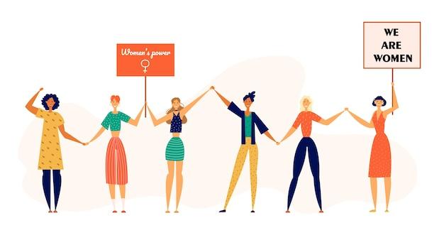 Conceito de greve independente feminista com personagens femininas manifestantes com pôsteres