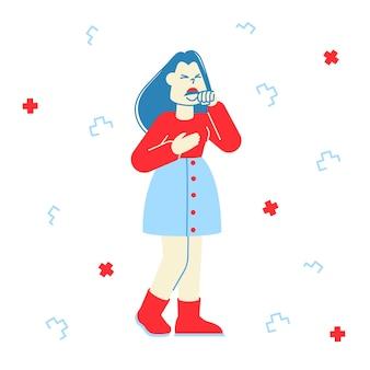 Conceito de gripe e doença. mulher doente com tosse