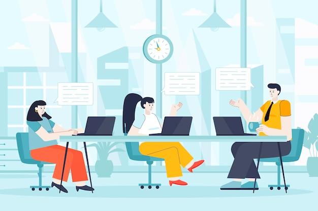 Conceito de grupo de foco em ilustração de design plano de personagens de pessoas para a página de destino