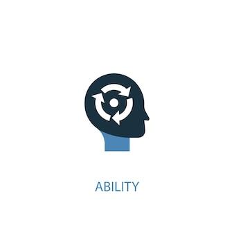 Conceito de habilidade 2 ícone colorido. ilustração do elemento azul simples. design de símbolo de conceito de habilidade. pode ser usado para ui / ux da web e móvel