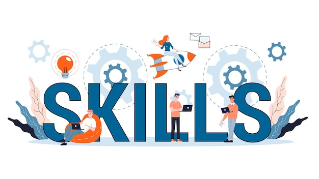 Conceito de habilidades. educação, treinamento e aperfeiçoamento. as pessoas adquirem conhecimento e constroem carreira. ilustração