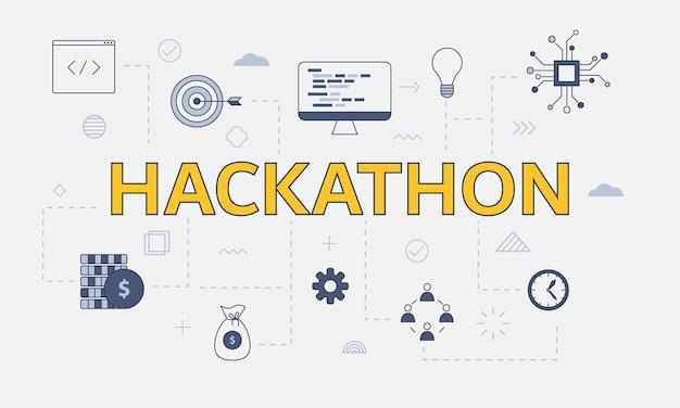 Conceito de hackathon com conjunto de ícones com uma palavra grande ou texto no centro