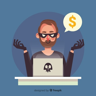 Conceito de hacker anônimo com design plano