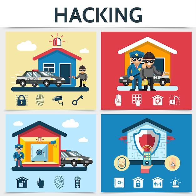 Conceito de hacking de sistema de segurança de casa plana com hackers policiais bloqueio câmera controle remoto alarme seguro palm eye