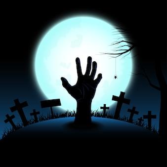Conceito de halloween com mão de zumbi