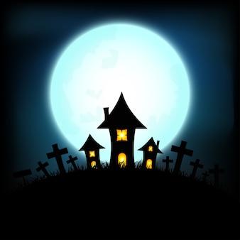 Conceito de halloween com o castelo e a noite de lua cheia