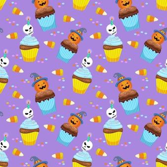 Conceito de halloween com padrão de bolo e doces do copo.