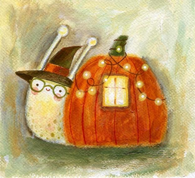 Conceito de halloween e outono com caracol fofo no chapéu de bruxa e com abóbora