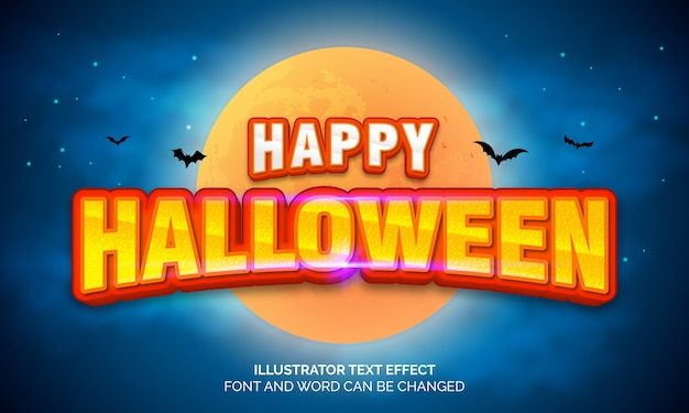 Conceito de halloween, efeito de texto editável