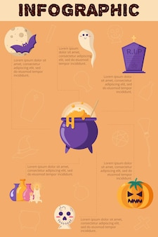 Conceito de halloween infografia design plano ilustração em vetor de conceito de truque ou travessura