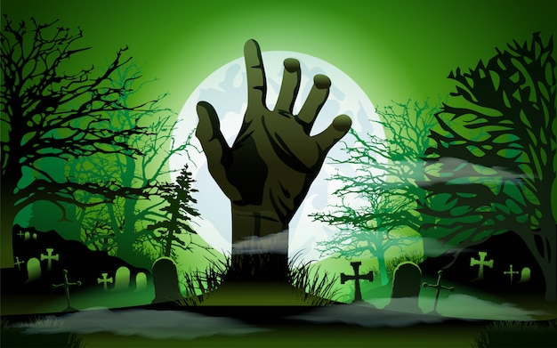 Conceito de halloween, mão de zumbi