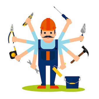 Conceito, de, handyman, trabalhador