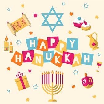 Conceito de hanukkah em design plano