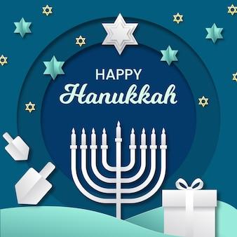 Conceito de hanukkah em estilo de papel