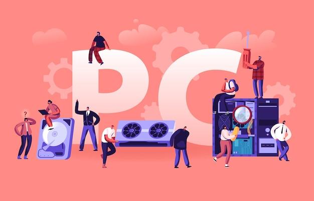 Conceito de hardware de pc. ilustração plana dos desenhos animados
