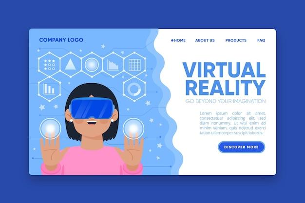 Conceito de headset para página de destino de realidade virtual