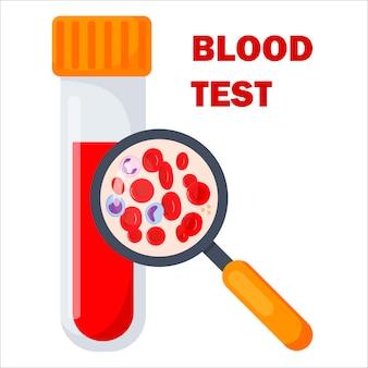 Conceito de hematologia com lupa e composição do sangue