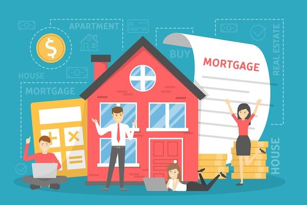 Conceito de hipoteca. ideia de um empréstimo imobiliário