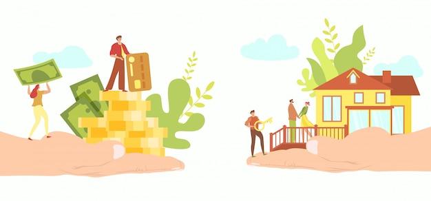 Conceito de hipoteca imobiliária, pessoas pequenas compram casa nova, mão segurando dinheiro, ilustração