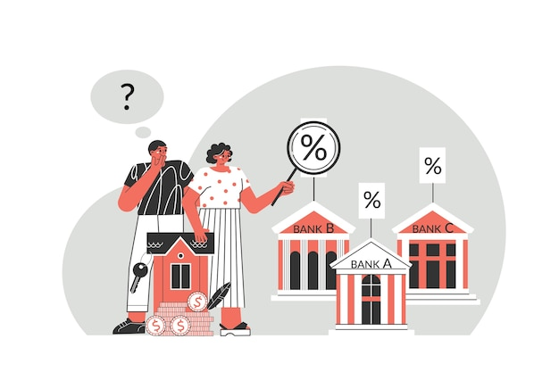 Conceito de hipoteca. o jovem casal considera o interesse de diferentes bancos por uma boa hipoteca. os personagens estão pensando em fazer uma hipoteca para comprar uma casa.