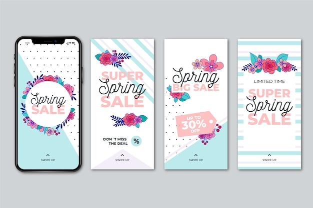 Conceito de história do instagram de venda de primavera