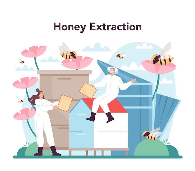 Conceito de hiver ou apicultor. agricultor profissional colhendo mel