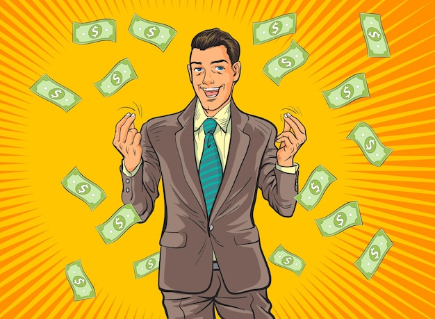 Conceito de homem de negócios bem-sucedido, lucro de riqueza de finanças.