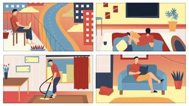 Conceito de homem lazer em casa