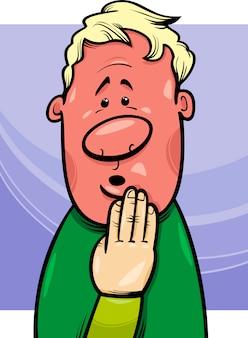 Conceito de homem tímido ilustração dos desenhos animados