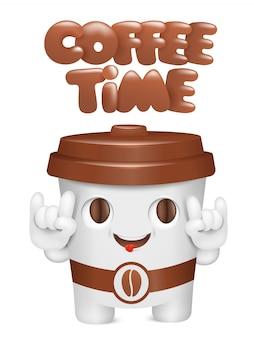 Conceito de hora do café. personagem de emoji de desenho de copo de papel