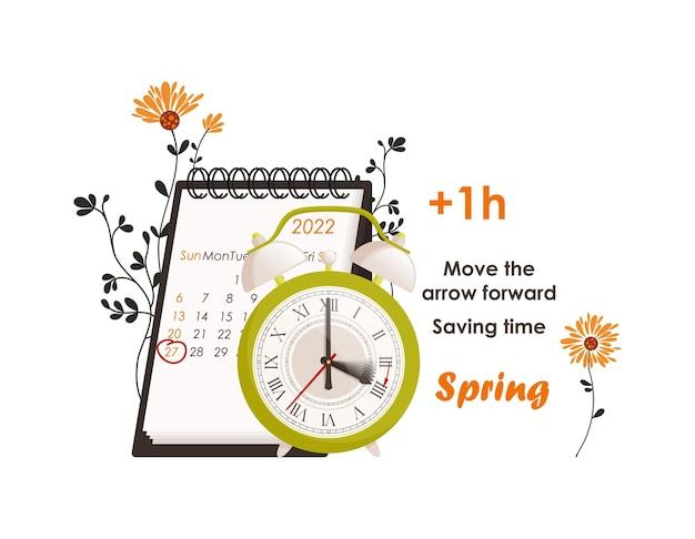 Conceito de horário de verão, os relógios se movem