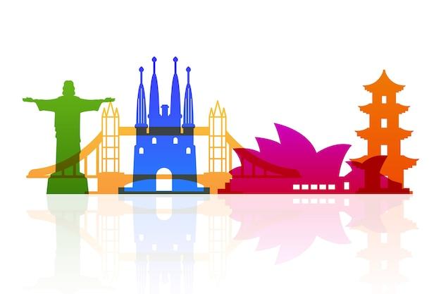 Conceito de horizonte colorido marcos