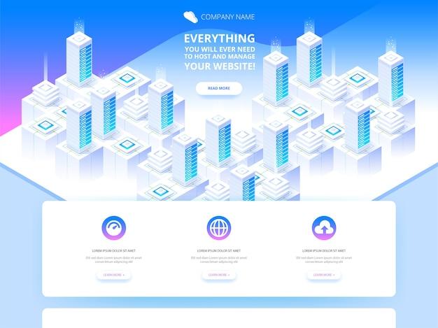 Conceito de hospedagem com armazenamento de dados em nuvem e sala de servidores
