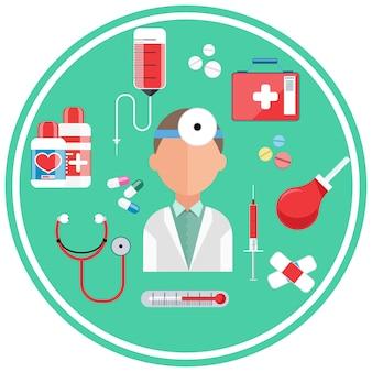 Conceito de hospital com ícones de item. doutor com kit de primeiros socorros