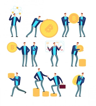 Conceito de ico e blockchain. pessoas de negócios com criptomoeda e tokens. conjunto de vetor de mineração e lucro digital globo