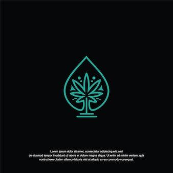 Conceito de ícone de design de logotipo de óleo de cannabis