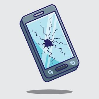 Conceito de ícone de design de vetor de telefone de tela de toque quebrada. vetor livre