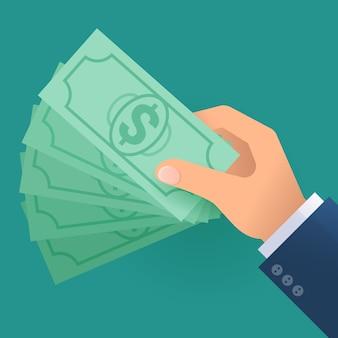 Conceito de ícone de design plano com mão com dinheiro.