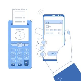 Conceito de ícone de linha plana de pagamento sem fio