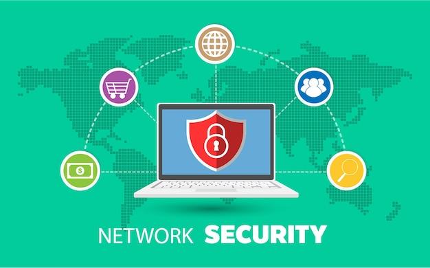 Conceito de ícone de segurança na internet