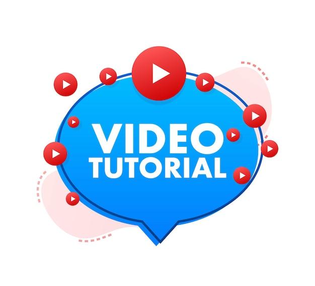 Conceito de ícone de tutoriais em vídeo estudo e aprendizado de educação a distância de fundo