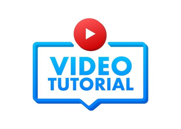 Conceito de ícone de tutoriais em vídeo estudo e aprendizado de educação a distância e crescimento de conhecimento