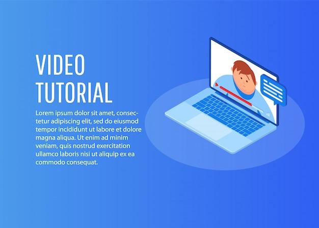 Conceito de ícone de tutoriais em vídeo isométrica