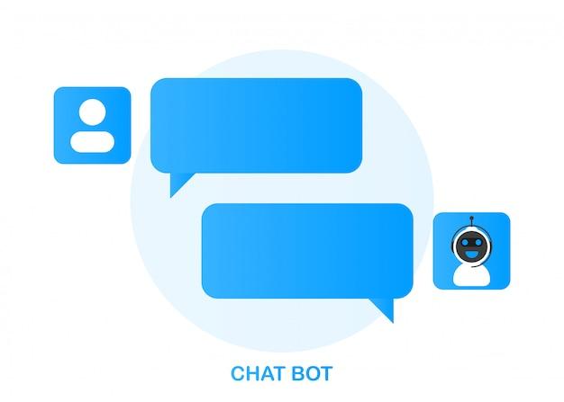 Conceito de ícone do chatbot, bot de bate-papo ou chatterbot.