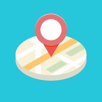 Conceito de ícone isométrico gps para aplicativos móveis. ilustração.