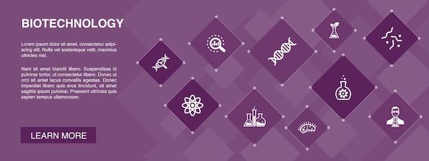 Conceito de ícones de banner 10 de biotecnologia. ícones simples de dna, ciência, bioengenharia, biologia