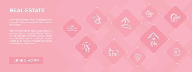 Conceito de ícones de banner 10 de imóveis. propriedade, corretor de imóveis, localização, ícones simples de propriedade para venda