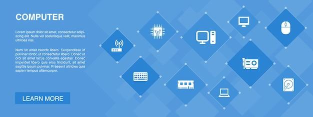 Conceito de ícones de banner de computador 10. ícones simples de unidade de disco rígido, laptop, teclado, disco rígido