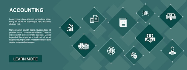 Conceito de ícones de banner de contabilidade 10. conjunto, relatório anual, receita líquida, ícones simples de contador